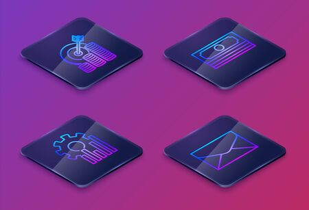 Set Isometric line Target with coin symbol, Pie chart infographic, Stacks paper money cash and Envelope. Blue square button. Vector Ilustracja