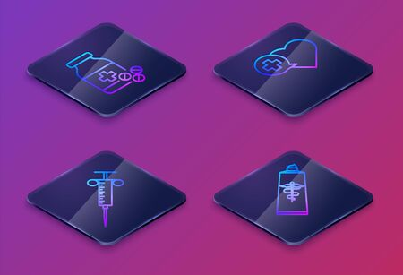 Set Isometric line Medicine bottle and pills, Syringe, Heart with a cross and Ointment cream tube medicine. Blue square button. Vector