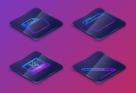 Set Isometric line Document folder, Laptop and cross mark on screen, Document folder and Pen line. Blue square button. Vector