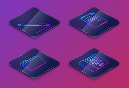Set Isometric line Pen line, Document folder, File document and Telephone. Blue square button. Vector