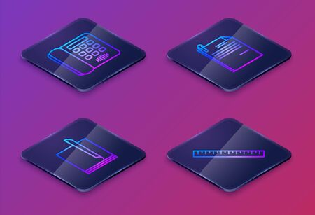 Set Isometric line Telephone, File document, File document and paper clip and Ruler. Blue square button. Vector