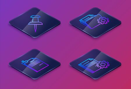 Set Isometric line Push pin, File document and binder clip, Folder settings with gears and Document settings with gears. Blue square button. Vector