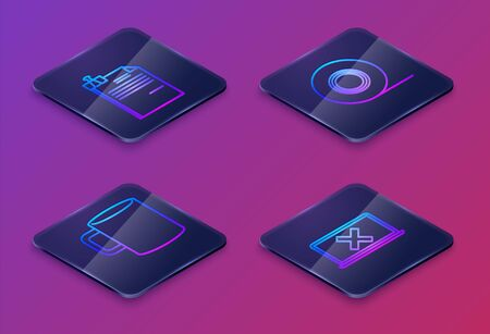 Set Isometric line File document and binder clip, Coffee cup flat, Scotch and Laptop and cross mark on screen. Blue square button. Vector