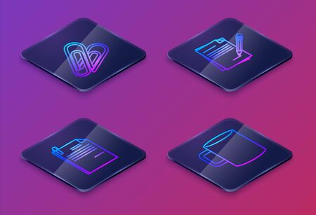 Set Isometric line Paper clip, File document and paper clip, Blank notebook and pencil with eraser and Coffee cup flat. Blue square button. Vector