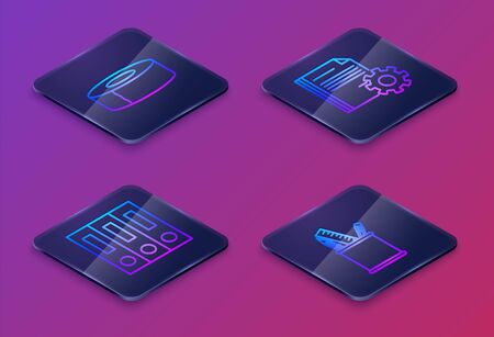Set Isometric line Scotch, Office folders with papers and documents, Document settings with gears and Pencil case stationery. Blue square button. Vector