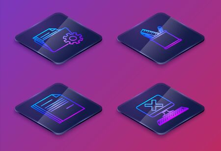 Set Isometric line Folder settings with gears, File document, Pencil case stationery and Computer with keyboard and x mark. Blue square button. Vector