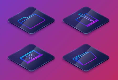 Set Isometric line Document folder, Laptop and cross mark on screen, File document and Document folder. Blue square button. Vector