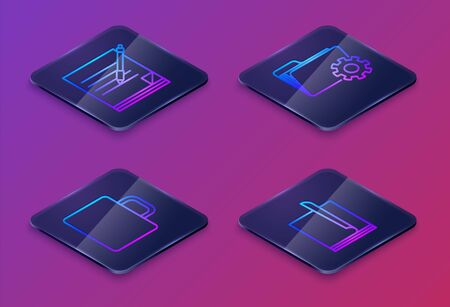 Set Isometric line Blank notebook and pen, Coffee cup, Folder settings with gears and File document. Blue square button. Vector