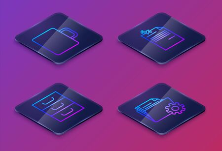 Set Isometric line Coffee cup, Drawer with documents, Note paper with pinned pushbutton and Folder settings with gears. Blue square button. Vector Ilustracja