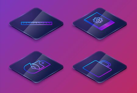 Set Isometric line Ruler, Scotch, User manual and Coffee cup. Blue square button. Vector