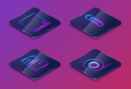 Set Isometric line File document, File document, Paper clip and Scotch. Blue square button. Vector