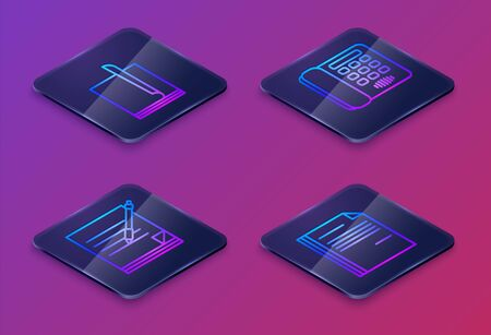 Set Isometric line File document, Blank notebook and pen, Telephone and File document. Blue square button. Vector