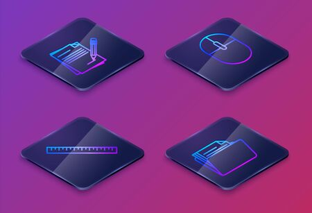 Set Isometric line Blank notebook and pencil with eraser, Ruler, Computer mouse and Document folder. Blue square button. Vector Ilustracja