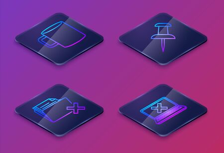 Set Isometric line Coffee cup flat, Delete folder, Push pin and Laptop and cross mark on screen. Blue square button. Vector Ilustracja