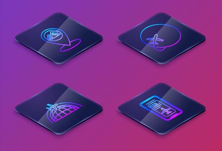 Set Isometric line Map pointer with Egypt pyramids, Globe with flying plane, Globe with flying plane and Smartphone with electronic boarding pass airline ticket. Blue square button. Vector