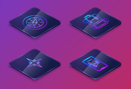 Set Isometric line Compass, Wind rose, Hiking backpack and Infographic of city map navigation. Blue square button. Vector