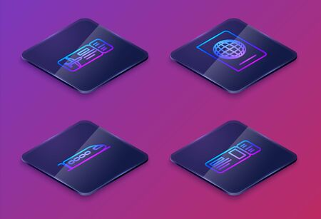 Set Isometric line Airline ticket, Train, Passport with biometric data and Travel ticket. Blue square button. Vector