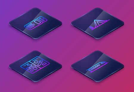Set Isometric line Travel ticket, Passport pages with visa stamps, Tourist tent with wood fire and Train. Blue square button. Vector