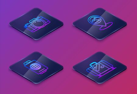 Set Isometric line Photo camera, Passport with ticket, Map pointer with mountain and Suitcase for travel and stickers. Blue square button. Vector