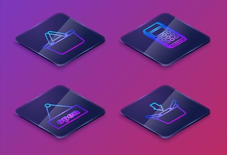 Set Isometric line Shopping basket, Hanging sign with text Open door, Pos terminal and Shopping basket. Blue square button. Vector