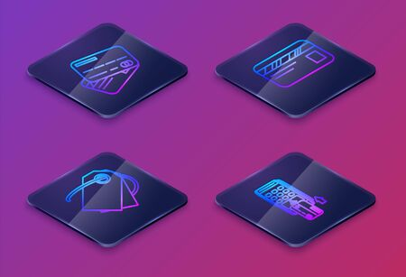 Set Isometric line Credit card, Blank label template price tag, Credit card and Pos terminal with inserted credit card. Blue square button. Vector