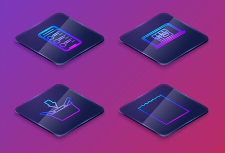 Set Isometric line Online shopping on mobile phone, Shopping basket, Shopping building on screen laptop and Paper shopping bag. Blue square button. Vector