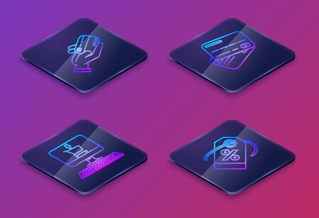 Set Isometric line Human hand holding with credit card, Shopping cart on screen computer, Credit card and Discount percent tag. Blue square button. Vector