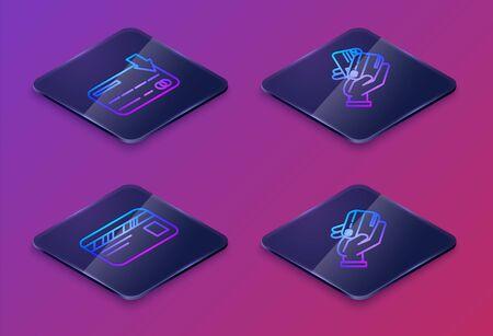 Set Isometric line Credit card, Credit card, Human hand holding with credit card and Human hand holding with credit card. Blue square button. Vector 向量圖像
