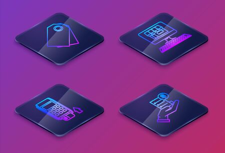 Set Isometric line Blank label template price tag, Pos terminal with inserted credit card, Shopping building on screen computer and Human hand holding with blank receipt or bill for payment. Vector