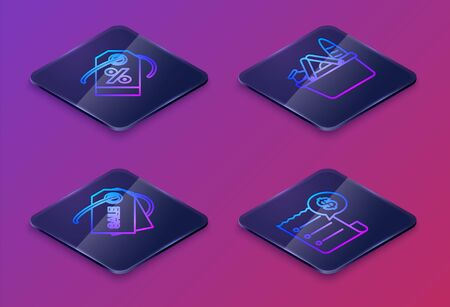 Set Isometric line Discount percent tag, Price tag with an inscription Sale, Shopping basket and food and Paper check and financial check. Blue square button. Vector
