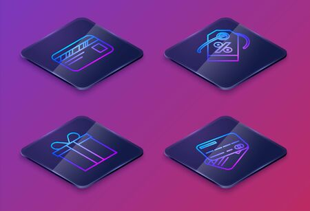 Set Isometric line Credit card, Gift box, Discount percent tag and Credit card. Blue square button. Vector