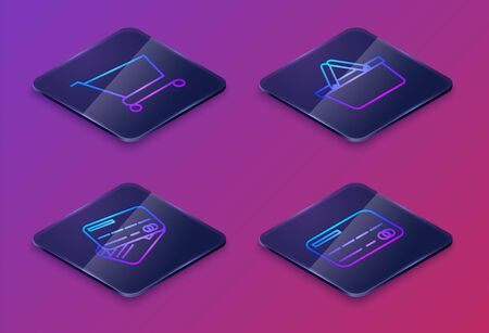 Set Isometric line Shopping cart, Credit card, Shopping basket and Credit card. Blue square button. Vector