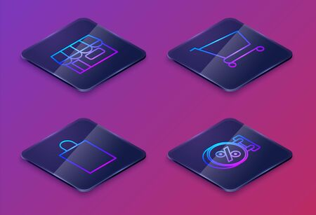 Set Isometric line Shopping building or market store, Paper shopping bag, Shopping cart and Signboard hanging with an inscription discount percent. Blue square button. Vector