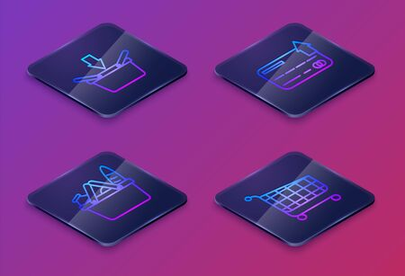 Set Isometric line Shopping basket, Shopping basket and food, Credit card and Shopping cart. Blue square button. Vector