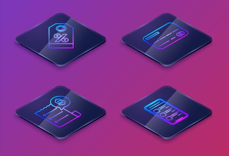 Set Isometric line Discount percent tag, Paper check and financial check, Credit card and Online shopping on mobile phone. Blue square button. Vector
