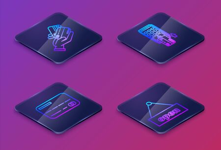 Set Isometric line Human hand holding with credit card, Credit card, Pos terminal with inserted credit card and Hanging sign with text Open door. Blue square button. Vector