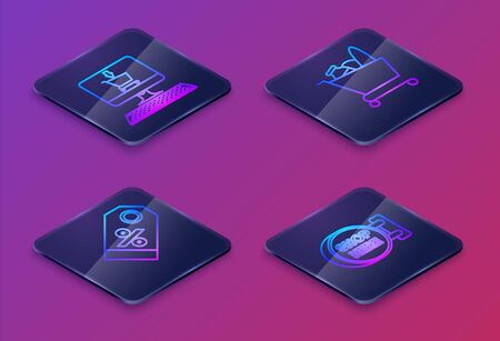 Set Isometric line Shopping cart on screen computer, Discount percent tag, Shopping cart and food and Signboard hanging with an inscription shop here. Blue square button. Vector