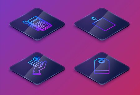 Set Isometric line Pos terminal with inserted credit card, Human hand holding with blank receipt or bill for payment, Paper shopping bag and Blank label template price tag. Blue square button. Vector