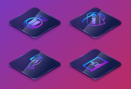 Set Isometric line Signboard hanging with an inscription shop here, Human hand holding with credit card, Price tag with an inscription Sale and Shopping cart on screen laptop. Vector