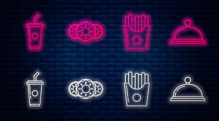 Set line Donut with sweet glaze, Potatoes french fries in carton package box, Paper glass with drinking straw and water and Covered with a tray of food. Glowing neon icon on brick wall. Vector Иллюстрация