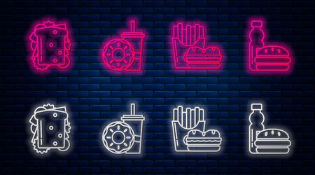 Set line Paper glass with drinking straw and donut, Burger and french fries in carton package box, Sandwich and Bottle of water and burger. Glowing neon icon on brick wall. Vector