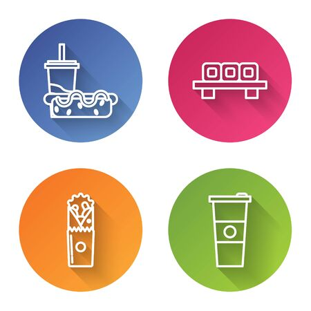 Set line Paper glass with drinking straw and hotdog, Sushi on cutting board, Doner kebab and Paper glass and water. Color circle button. Vector Stock Illustratie