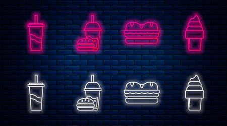 Set line Paper glass with drinking straw and burger, Sandwich, Paper glass with drinking straw and water and Ice cream in waffle cone. Glowing neon icon on brick wall. Vector