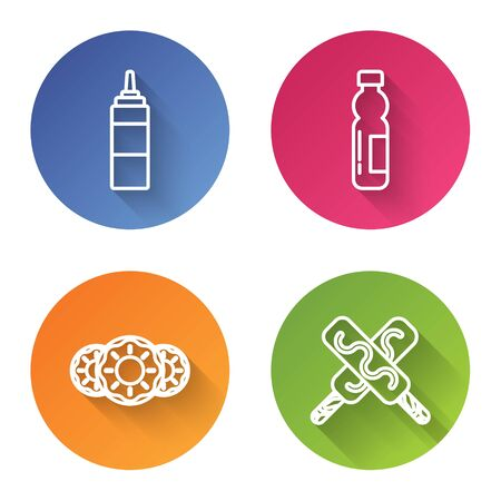 Set line Sauce bottle, Bottle of water, Donut with sweet glaze and Ice cream. Color circle button. Vector Ilustração