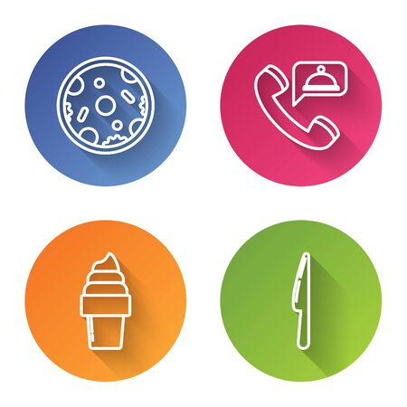 Set line Pizza, Food ordering, Ice cream in waffle cone and Knife. Color circle button. Vector