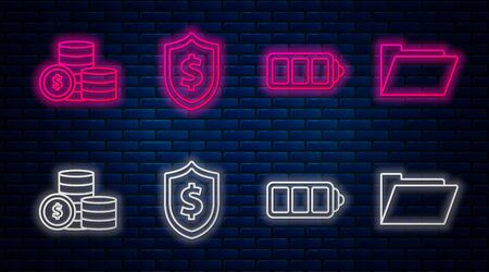 Set line Shield with dollar symbol, Battery charge level indicator, Coin money with dollar symbol and Document folder. Glowing neon icon on brick wall. Vector Vettoriali