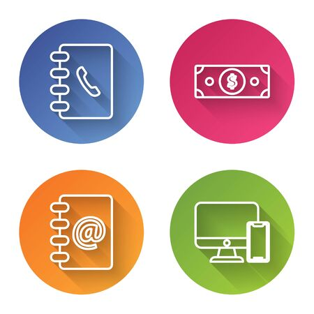 Set line Address book, Stacks paper money cash, Address book and Computer monitor and mobile phone. Color circle button. Vector