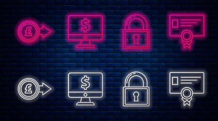 Set line Computer monitor with dollar symbol, Lock, Coin money with pound sterling symbol and Certificate template. Glowing neon icon on brick wall. Vector
