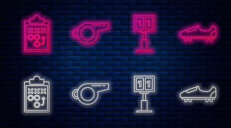 Set line Whistle, Sport football mechanical scoreboard and result display, Planning strategy concept and Soccer or football shoes with spikes. Glowing neon icon on brick wall. Vector Foto de archivo - 135441304