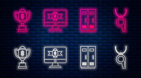 Set line American football on tv program, Locker or changing room for football, basketball team or workers, Award cup and American football ball and Whistle. Glowing neon icon on brick wall. Vector Foto de archivo - 135441325